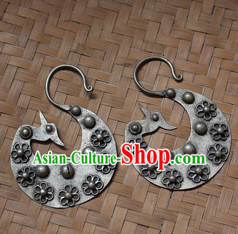 Traditional Chinese Miao Nationality Crafts Jewelry Accessory Classical Earbob Accessories, Hmong Handmade Miao Silver Birds Palace Lady Earrings, Miao Ethnic Minority Eardrop for Women