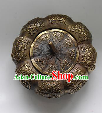 Traditional Chinese Miao Nationality Crafts Decoration Accessory Bronze Pumpkin, Hmong Handmade Miao Silver Longevity Pumpkin Ornaments, Miao Ethnic Minority Exorcise Evil Pumpkin Ornaments
