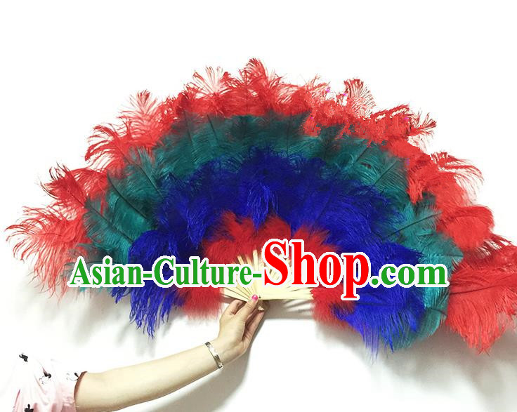 Traditional Handmade Chinese Classical Ostrich Feather Fans, China Folk Dance Fan Dance Stage Performance Colorful Fan for Women