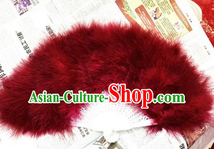 Traditional Handmade Chinese Classical Feather Fans, China Folk Dance Fan Dance Stage Performance Red Fan for Women