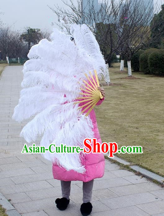 Traditional Handmade Chinese Classical Ostrich Feather Fans, China Folk Dance Fan Dance Stage Performance Large Size Fan for Women