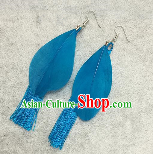 Chinese Classicla Jewelry Accessory Earbob Accessories, Handmade Blue Feather Tassel Earrings Eardrop for Women