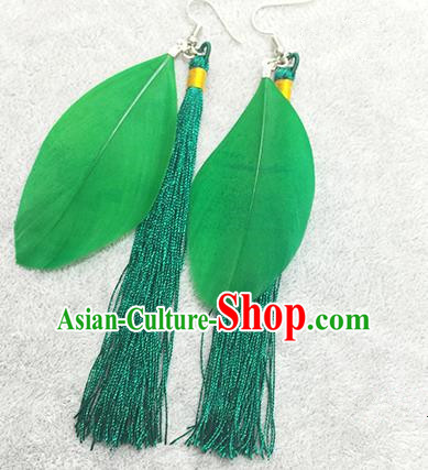 Chinese Classicla Jewelry Accessory Earbob Accessories, Handmade Green Feather Tassel Earrings Eardrop for Women