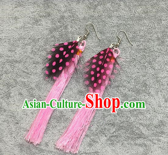 Chinese Classicla Jewelry Accessory Earbob Accessories, Handmade Pink Feather Tassel Earrings Eardrop for Women