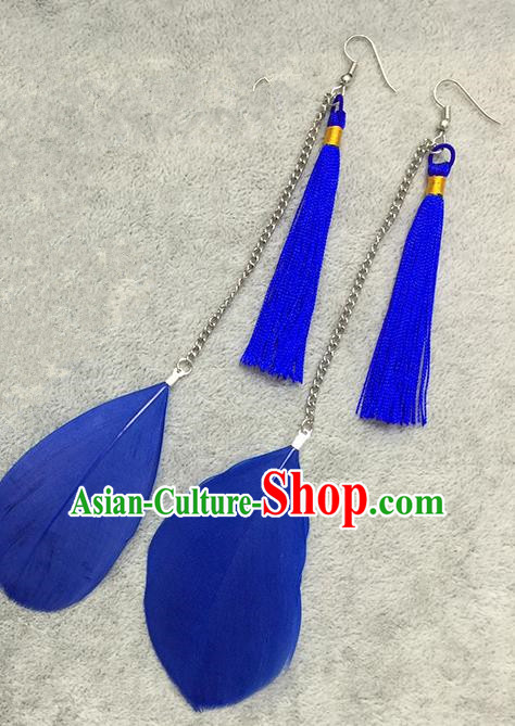 Chinese Classicla Jewelry Accessory Earbob Accessories, Handmade Royalblue Feather Tassel Earrings Eardrop for Women