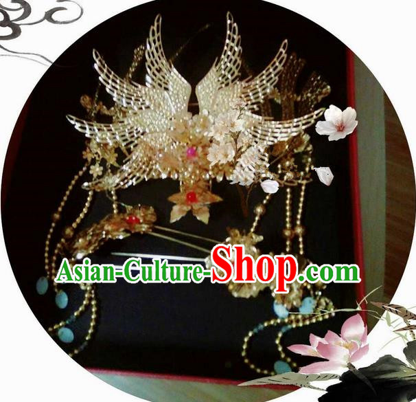 Traditional Handmade Chinese Ancient Classical Hair Accessories Complete Set, Han Dynasty Bride Wedding Barrettes Imperial Empress Phoenix Coronet, Xiuhe Suit Hanfu Hair Sticks Hair Jewellery, Hair Fascinators Hairpins for Women