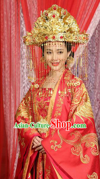 Traditional Handmade Chinese Ancient Classical Hair Accessories Complete Set, Han Dynasty Imperial Consort Bride Wedding Phoenix Coronet, Xiuhe Suit Hanfu Palace Princess Hair Sticks Hair Jewellery, Hair Fascinators Hairpins for Women