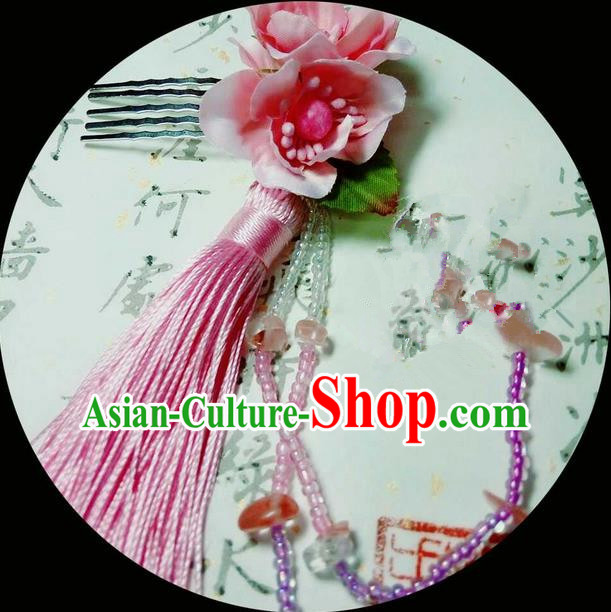 Traditional Handmade Chinese Ancient Classical Hair Accessories, Han Dynasty Barrettes Hairpin, Hanfu Hair Sticks Flowers Tassel Hair Comb Jewellery, Hair Fascinators Hairpins for Women