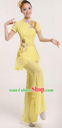 Traditional Chinese Yangge Fan Dancing Costume, Folk Dance Yangko Costume Drum Dance Yellow Clothing for Women