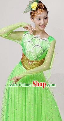 Traditional Chinese Modern Dancing Costume, Women Opening Classic Chorus Singing Group Dance Paillette Costume, Folk Dance Yangko Costume, Modern Dance Long Green Peony Dress for Women