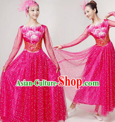 Traditional Chinese Modern Dancing Costume, Women Opening Classic Chorus Singing Group Dance Paillette Costume, Folk Dance Yangko Costume, Modern Dance Long Rose Peony Dress for Women