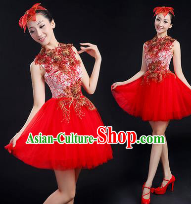 Traditional Chinese Modern Dancing Costume, Women Opening Classic Chorus Singing Group Dance Paillette Costume, Modern Dance Short Red Bubble Dress for Women