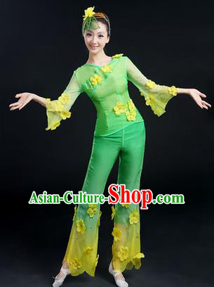 Traditional Chinese Yangge Fan Dancing Costume, Folk Dance Yangko Costume Drum Dance Jasmine Flower Clothing for Women