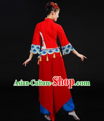Traditional Chinese Yangge Fan Dancing Costume, Folk Dance Yangko Costume Drum Dance Peony Red Clothing for Women