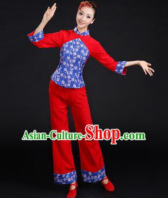 Traditional Chinese Yangge Fan Dancing Costume, Folk Dance Yangko Costume Drum Dance Stand Collar Clothing for Women