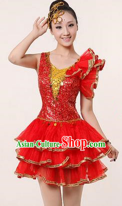 Traditional Chinese Modern Dancing Costume, Women Opening Classic Stage Performance Chorus Singing Group Dance Paillette Costume, Modern Dance Red Bubble Dress for Women
