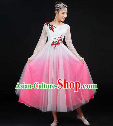 Traditional Chinese Modern Dancing Costume, Women Opening Classic Chorus Singing Group Dance Costume, Modern Dance Embroider Plum Blossom Bubble Dress for Women