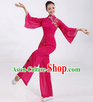 Traditional Chinese Yangge Fan Dancing Costume, Folk Dance Yangko Costume Drum Dance Pink Embroider Clothing for Women