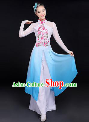 Traditional Chinese Modern Dancing Costume, Women Opening Classic Chorus Singing Group Dance Costume, Folk Dance Yangko Plum Blossom Costume, Modern Dance Blue Dress for Women
