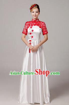 Traditional Chinese Modern Dancing Costume, Women Opening Classic Chorus Singing Group Dance Hollow Out Costume, Modern Dance Long Dress for Women