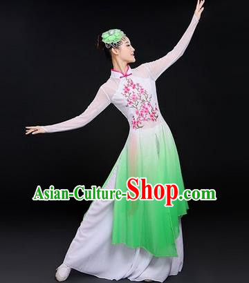 Traditional Chinese Modern Dancing Costume, Women Opening Classic Chorus Singing Group Dance Costume, Folk Dance Yangko Plum Blossom Costume, Modern Dance Green Dress for Women