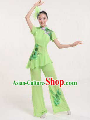 Traditional Chinese Yangge Fan Dancing Costume, Folk Dance Yangko Costume Drum Dance Classic Dance Green Clothing for Women