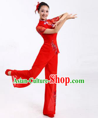 Traditional Chinese Yangge Fan Dancing Costume, Folk Dance Yangko Costume Drum Dance Classic Dance Red Clothing for Women