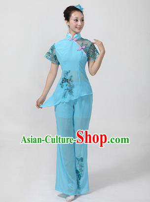 Traditional Chinese Yangge Fan Dancing Costume, Folk Dance Yangko Costume Drum Dance Classic Dance Blue Clothing for Women
