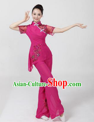 Traditional Chinese Yangge Fan Dancing Costume, Folk Dance Yangko Costume Drum Dance Classic Dance Rose Clothing for Women