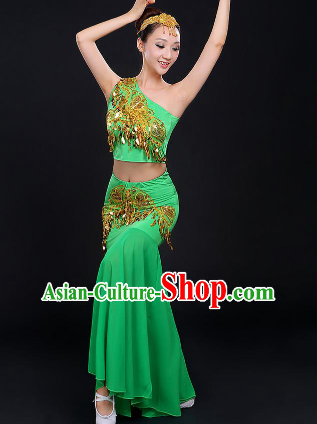 Traditional Chinese Dai Nationality Peacock Dancing Costume, Folk Dance Ethnic Paillette Dress, Chinese Minority Nationality Classic Dance Green Costume for Women