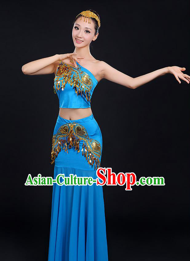 Traditional Chinese Dai Nationality Peacock Dancing Costume, Folk Dance Ethnic Paillette Dress, Chinese Minority Nationality Classic Dance Blue Costume for Women