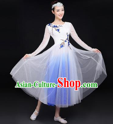 Traditional Chinese Modern Dancing Costume, Women Opening Classic Chorus Singing Group Dance Paillette Costume, Classic Dance Plum Blossom Costume, Modern Dance Long White Dress for Women