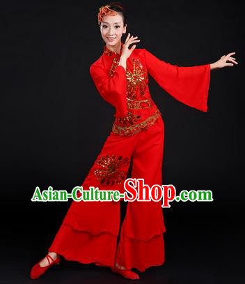Traditional Chinese Yangge Fan Dancing Costume, Folk Dance Yangko Costume Drum Dance Embroidered Red Clothing for Women