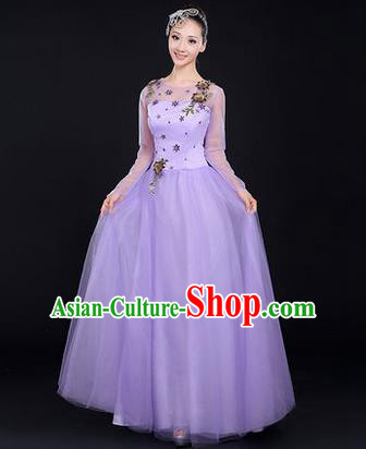 Traditional Chinese Modern Dancing Costume, Women Opening Classic Chorus Singing Group Dance Costume, Modern Dance Purple Bubble Dress for Women