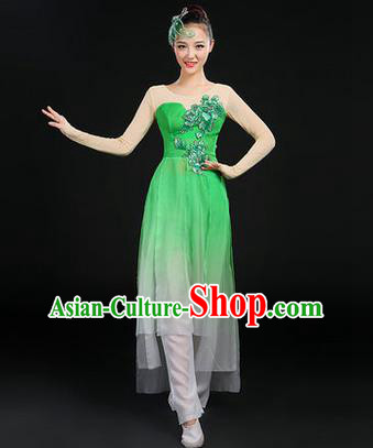 Traditional Chinese Yangge Fan Dancing Costume, Opening Dance Costume, Classic Dance Folk Dance Yangko Costume Drum Dance Green Peony Clothing for Women