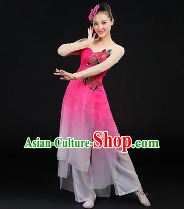 Traditional Chinese Yangge Fan Dancing Costume, Opening Dance Costume, Classic Dance Folk Dance Yangko Costume Drum Dance Pink Peony Clothing for Women