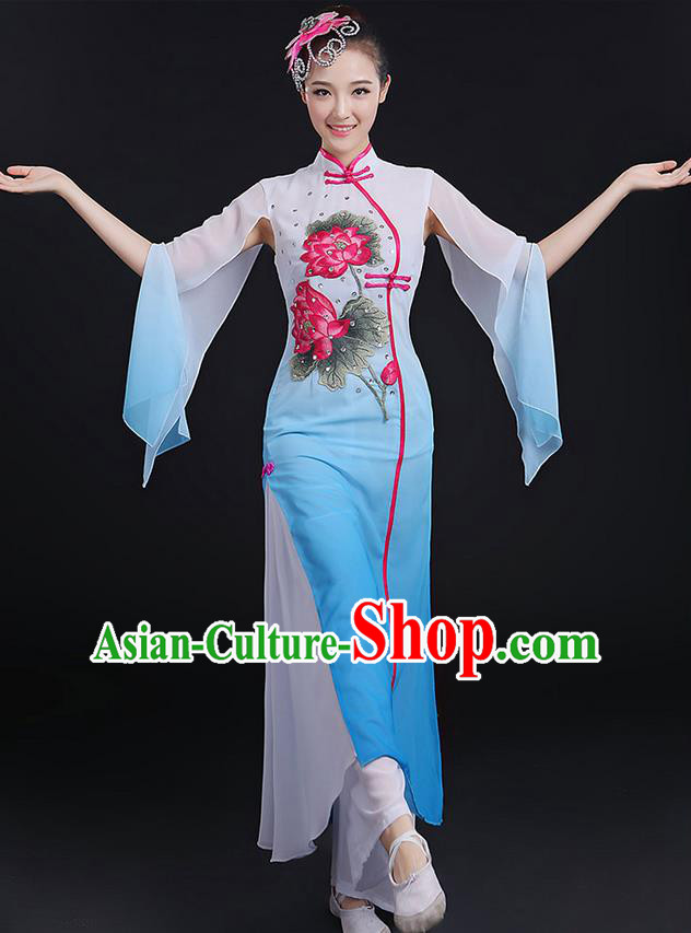 Traditional Chinese Yangge Fan Dancing Costume, Opening Dance Costume, Classic Dance Folk Lotus Dance Yangko Costume Drum Dance Blue Clothing for Women