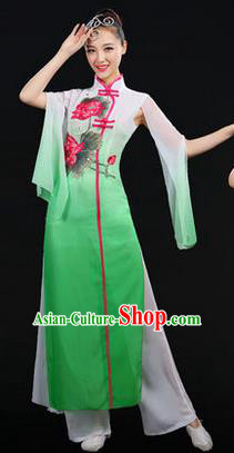 Traditional Chinese Yangge Fan Dancing Costume, Opening Dance Costume, Classic Dance Folk Lotus Dance Yangko Costume Drum Dance Green Clothing for Women