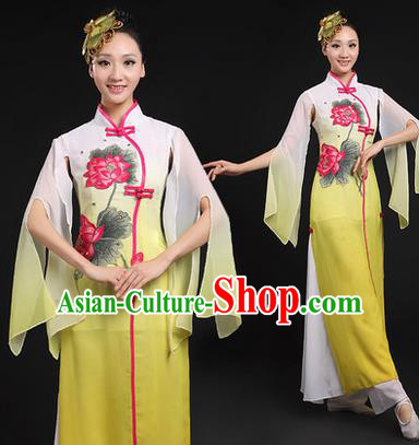 Traditional Chinese Yangge Fan Dancing Costume, Opening Dance Costume, Classic Dance Folk Lotus Dance Yangko Costume Drum Dance Yellow Clothing for Women