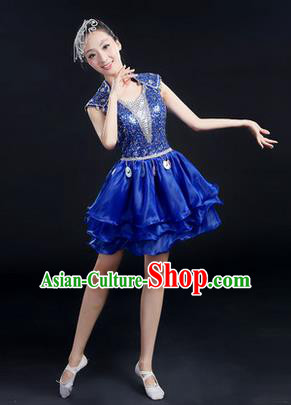 Traditional Chinese Modern Dancing Costume, Women Opening Classic Chorus Singing Group Dance Paillette Costume, Modern Dance Short Blue Peony Dress for Women