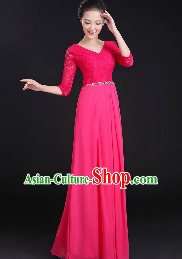 Traditional Chinese Modern Dancing Costume, Women Opening Classic Chorus Singing Group Dance Lace Clothing, Modern Dance Long Pink Dress for Women