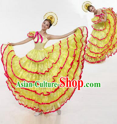 Traditional Chinese Modern Dancing Costume, Women Opening Classic Chorus Singing Group Dance Costume, Modern Dance Big Swing Yellow Dress for Women