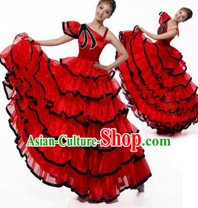 Traditional Chinese Modern Dancing Costume, Women Opening Classic Chorus Singing Group Dance Costume, Modern Dance Big Swing Red Dress for Women