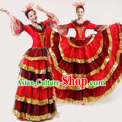 Traditional Chinese Modern Dancing Costume, Women Opening Classic Chorus Singing Group Dance Paillette Costume, Modern Dance Big Swing Red Dress for Women