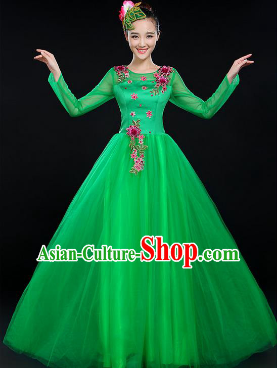 Traditional Chinese Modern Dancing Costume, Women Opening Classic Chorus Singing Group Dance Costume, Modern Dance Big Swing Embroidered Green Long Dress for Women