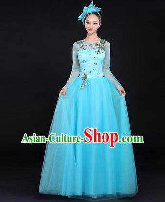 Traditional Chinese Modern Dancing Costume, Women Opening Classic Chorus Singing Group Dance Costume, Modern Dance Big Swing Embroidered Blue Long Dress for Women
