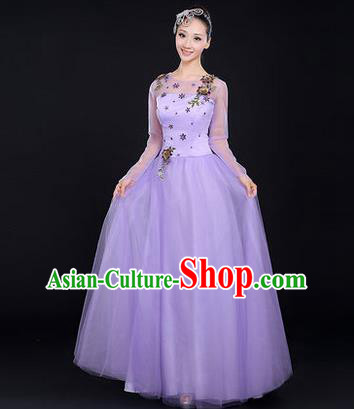 Traditional Chinese Modern Dancing Costume, Women Opening Classic Chorus Singing Group Dance Costume, Modern Dance Big Swing Embroidered Purple Long Dress for Women
