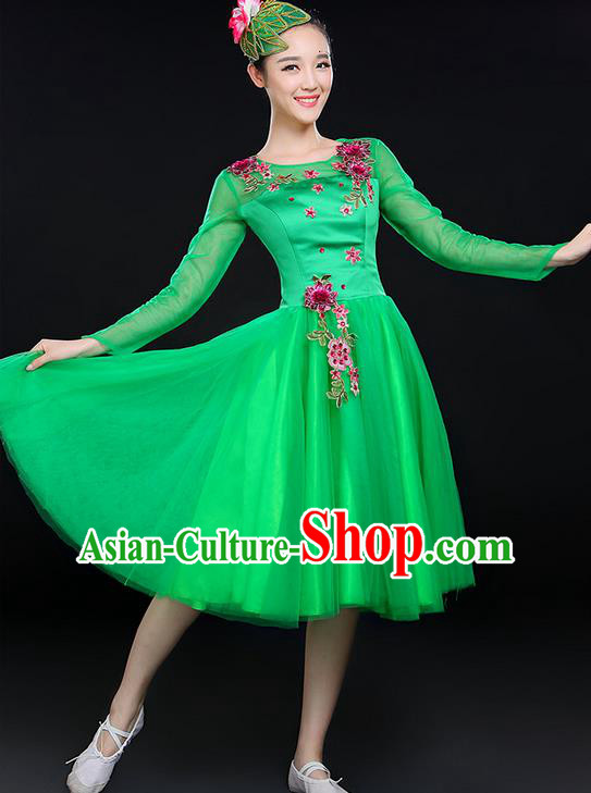 Traditional Chinese Modern Dancing Costume, Women Opening Classic Chorus Singing Group Dance Costume, Modern Dance Big Swing Embroidered Green Short Dress for Women