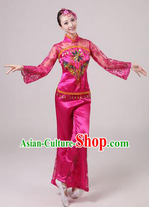 Traditional Chinese Yangge Fan Dancing Costume, Folk Dance Yangko Paillette Dress Costume, Classic Dance Drum Dance Rose Embroidered Clothing for Women