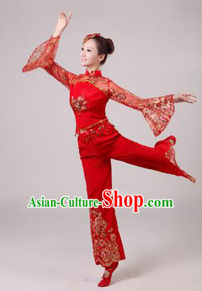 Traditional Chinese Yangge Fan Dancing Costume, Folk Dance Yangko Paillette Dress Costume, Classic Dance Drum Dance Red Embroidered Clothing for Women